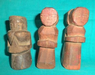 Antique Old Rare African Wooden Hand Carved 3 Piece Tribal Boy Doll Figure photo