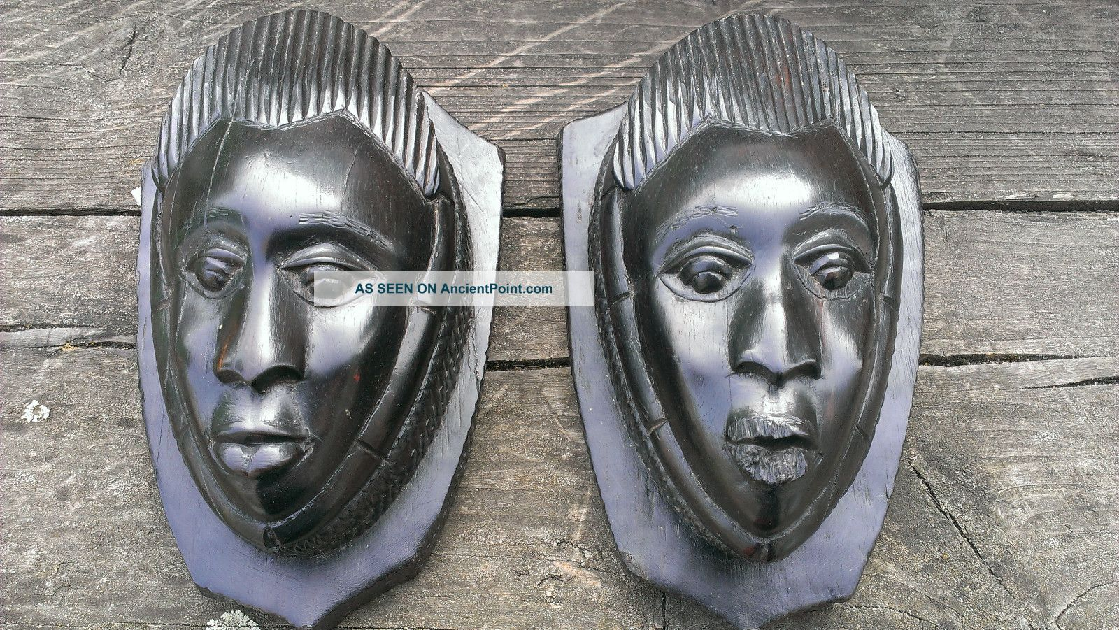 Vintage African Wall Masks Pair Small Heads Ebony Heartwood Shield Shape Mounts Other photo