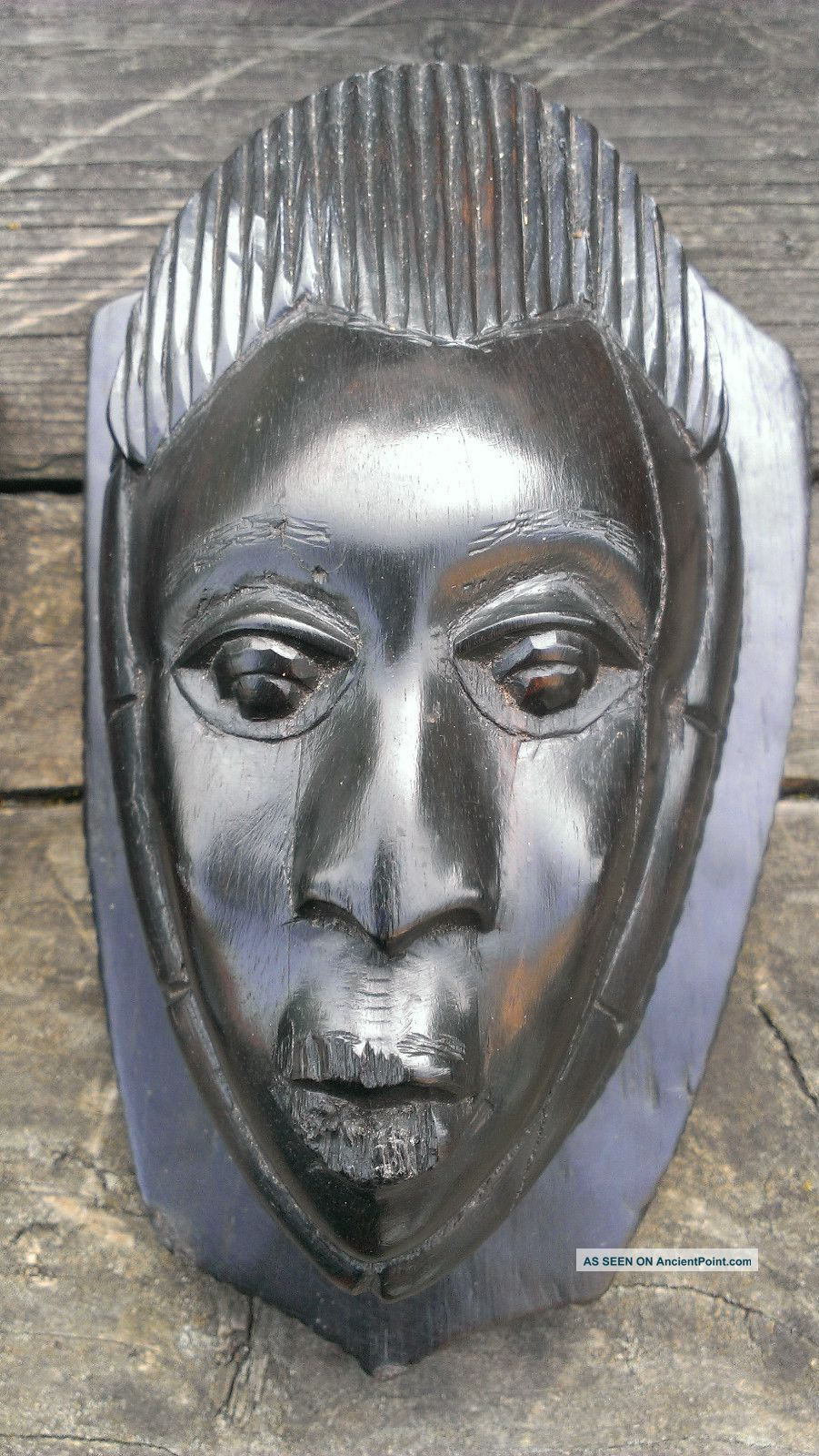 Vintage African Wall Masks Pair Small Heads Ebony Heartwood Shield