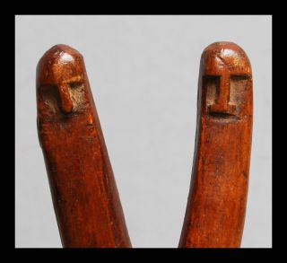 A Really Interesting And Well Patinated Catapult With 2 Faces,  Baule Tribe photo