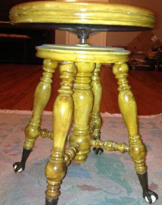 Vintage Chas Parker Eagle Claw Glass Ball Mahogany Swivel Piano Stool Mint photo