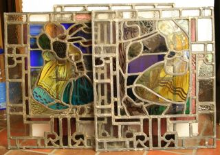 3 Edwardian Leaded Hand Painted Stained Glass Windows / Can Ship Worldwide photo