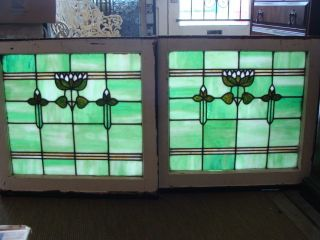 Pair Of Arts And Crafts Stained Glass Windows photo