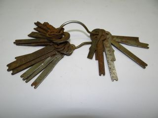 Of Antique Old Metal Car? Automobile? Vintage Keys On Ring Collectible photo