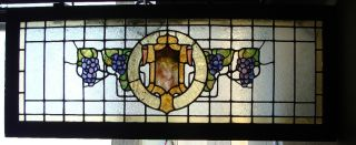 Antique Grape Stained Glass Transom Window photo