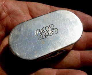 Fine Asprey London Sterling & Gold Toothpick Case Etui W Mirror Sapphire? Clip photo