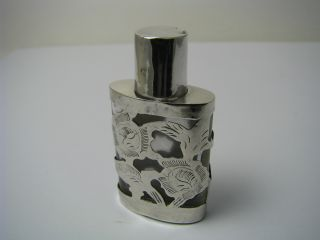 Overlay Sterling Silver & Glass Perfume Bottle Sent Bottle Taxco Mexico Ca1950s photo