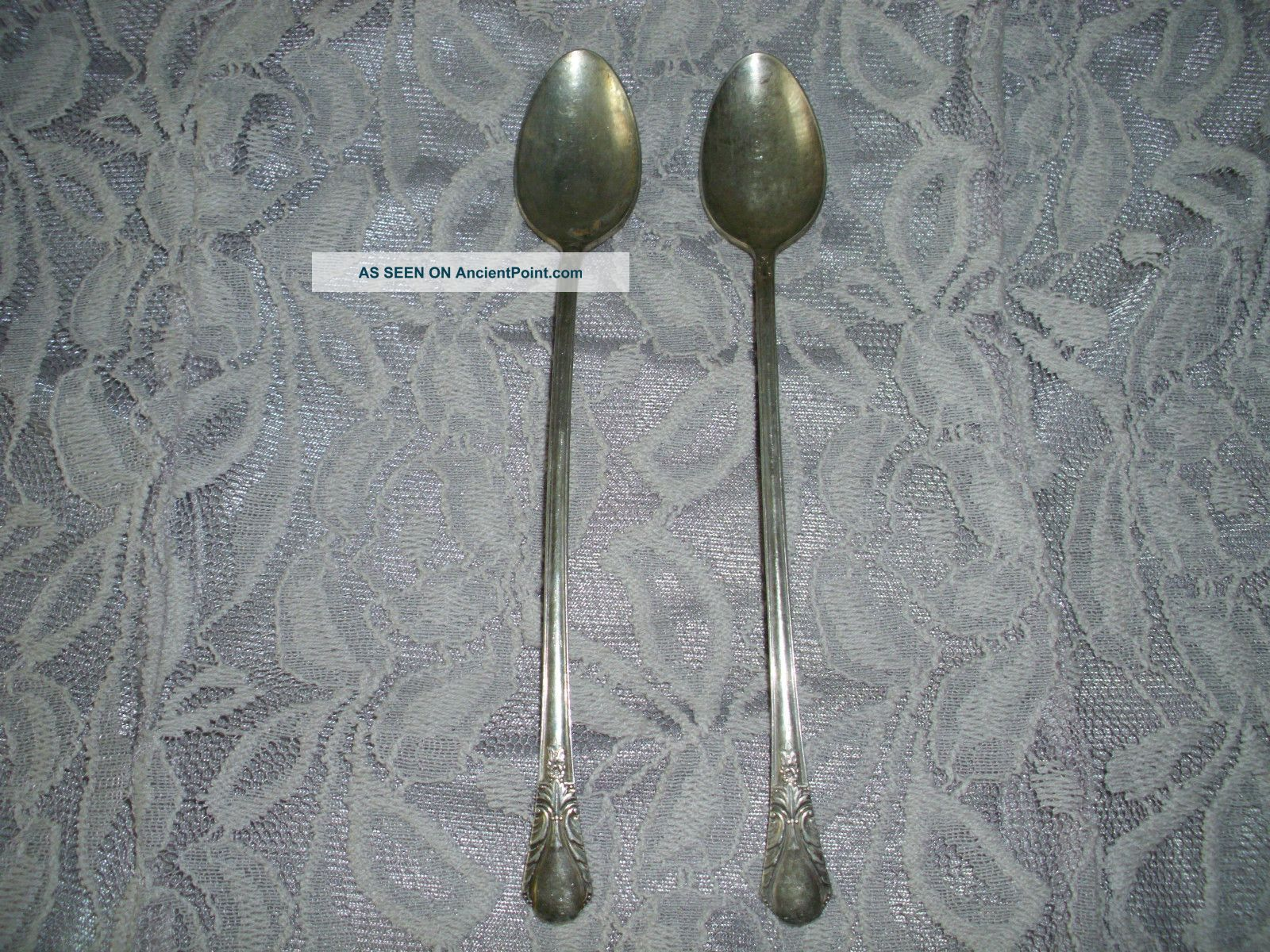2 Wm Rogers Mfg.  Co Silverplate Long Handled Ice Tea Spoons Oneida/Wm. A. Rogers photo