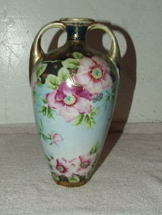 Antique Signed Nippon Japan Hand Painted Porcelain Gorgeous Handled Vase Urn photo