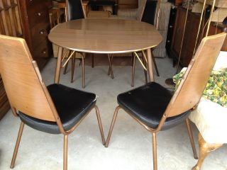 Vintage Danish Modern Dining Set 5 Pcs With Leaf photo