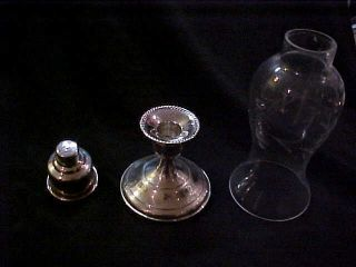 Sterling Silver Candle Holder With Etched Glass Shade Lqqk photo