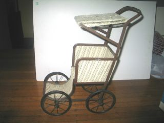 Vintage Wicker Baby Doll Carriage Buggie Stroller Metal Lace Top photo