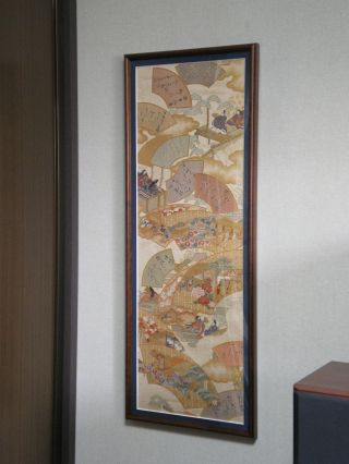Japanese antique obi for kimono framed art no   1085 waka composing 1 thumb2 lgw