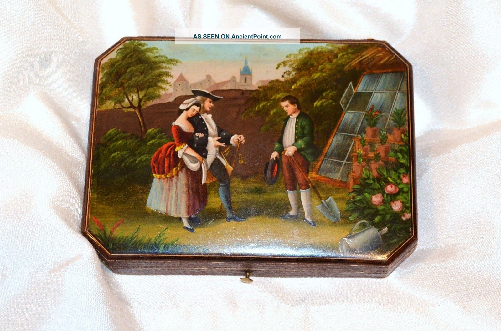 Rare Hand Painted Antique German Sewing Etui - Sterling Silver Tools Thimble Etc Germany photo