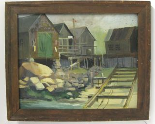 1969 Vintage Orig Oil Painting Empty Dry Dock After Launch Signed Barton Nr Yqz photo