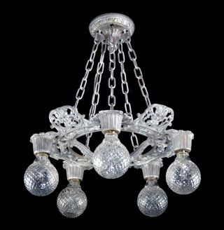 Antique Art Deco Chandelier Silver Vintage Early Electric Restored Steampunk photo