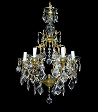 Vintage Chandelier Italian Crystal Bronze Gold Gilded Antique French Restored photo