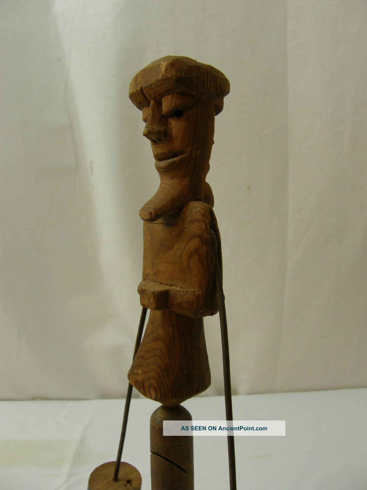 Fantastic Antique American Primitive Folk Art Carved Wood Balance Toy Whimsy Primitives photo