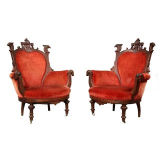 7144 Pair Of Antique 19th C.  Victorian Carved Walnut Eagle Arm Chairs photo