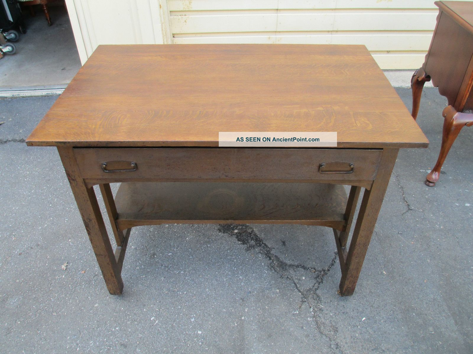 51576 Mission Arts + Crafts Stickley ?? Solid Oak Library Table Desk 1900-1950 photo