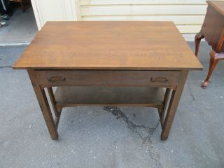 51576 Mission Arts + Crafts Stickley ?? Solid Oak Library Table Desk photo