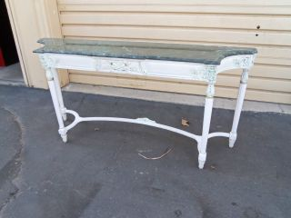 49824 Marble Top Hall Console Sofa Table Stand photo