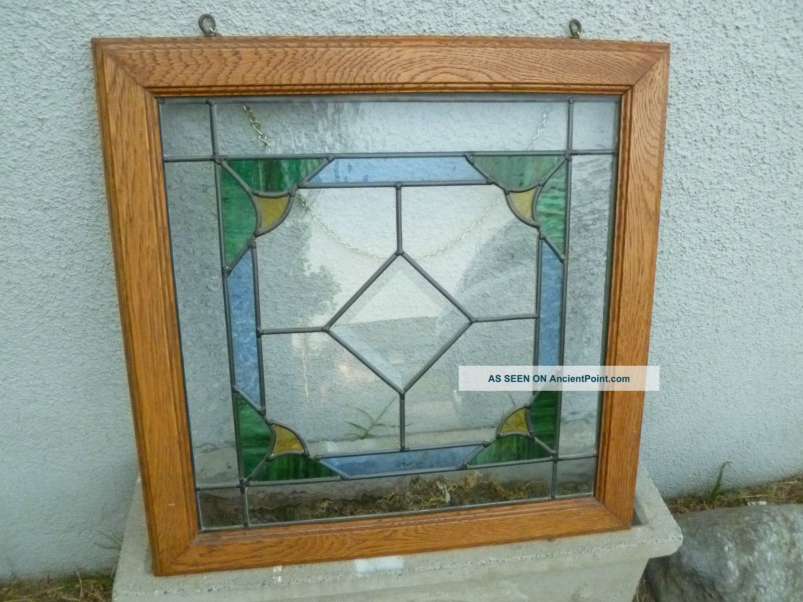 Leaded Glass Stained Glass Hanging Panel 21 X21 Oak Frame