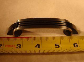 Vtg Chrome Drawer Door Pulls Black Lines Plastic Trim Art Deco Amerock 4 - 1/4