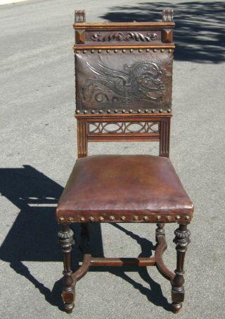 Antique Vintage Spanish Renaissance Dragon Embossed Leather Accent Chair photo