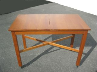 Vintage Made By Stickley Modern Medium Sized Light Brown Wood Cart Table Wheels photo
