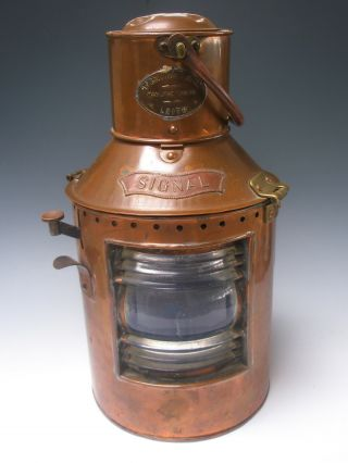 Antique Galloway Ship Signal Lantern Copper And Brass 20th Century 14 1/2