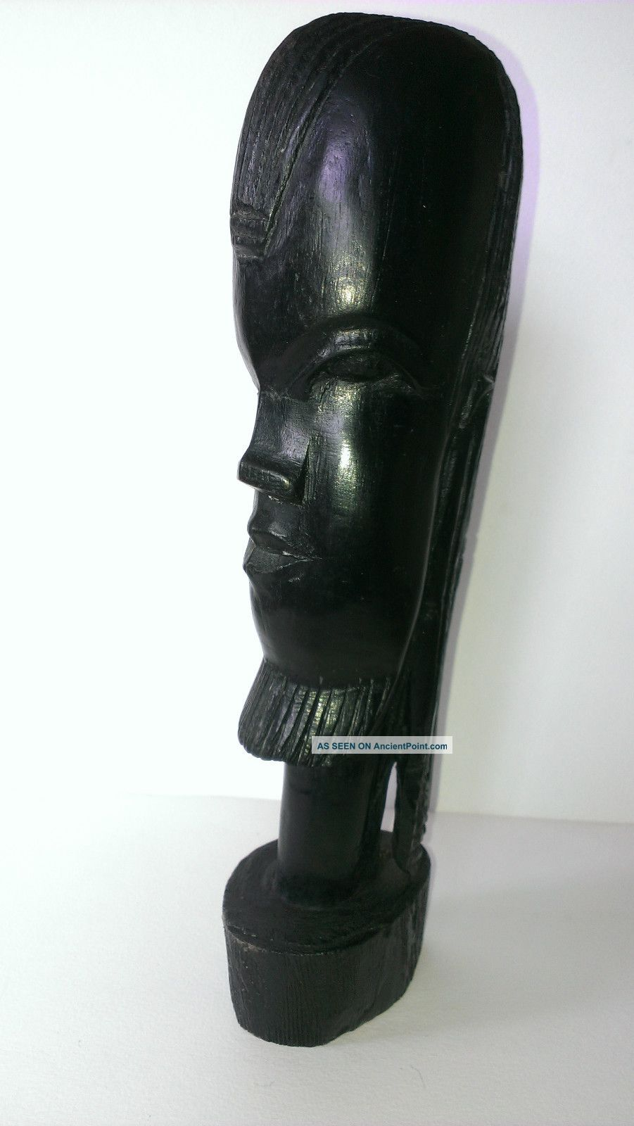 Vintage African Portrait Sculpture Bearded Man W.  Dreads Ebony Poss.  Nigerian?? Other photo