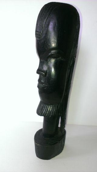 Vintage African Portrait Sculpture Bearded Man W.  Dreads Ebony Poss.  Nigerian?? photo