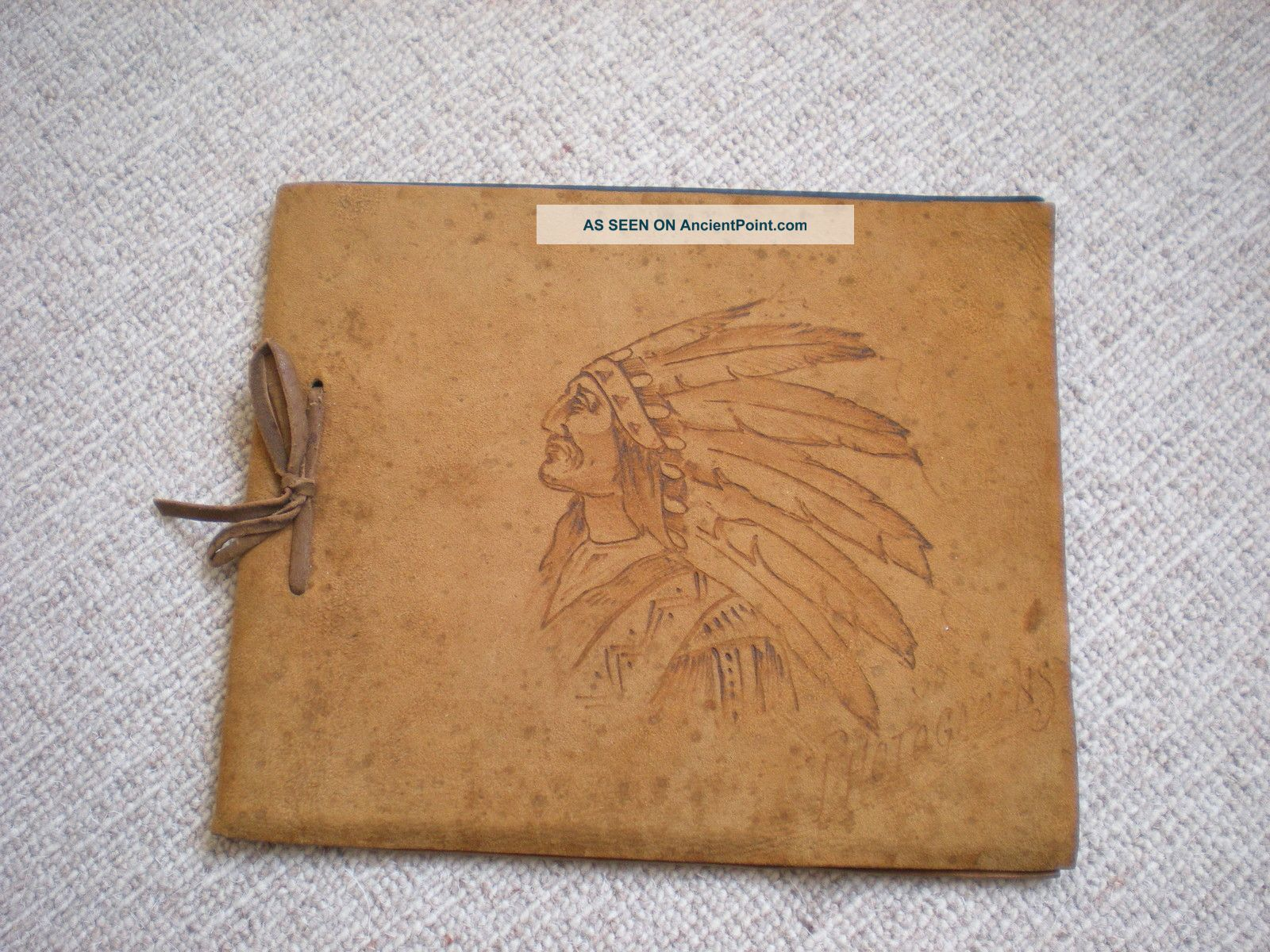 Vintage Native American Suede Photograph Album Canada Western Usa Tribal Native American photo