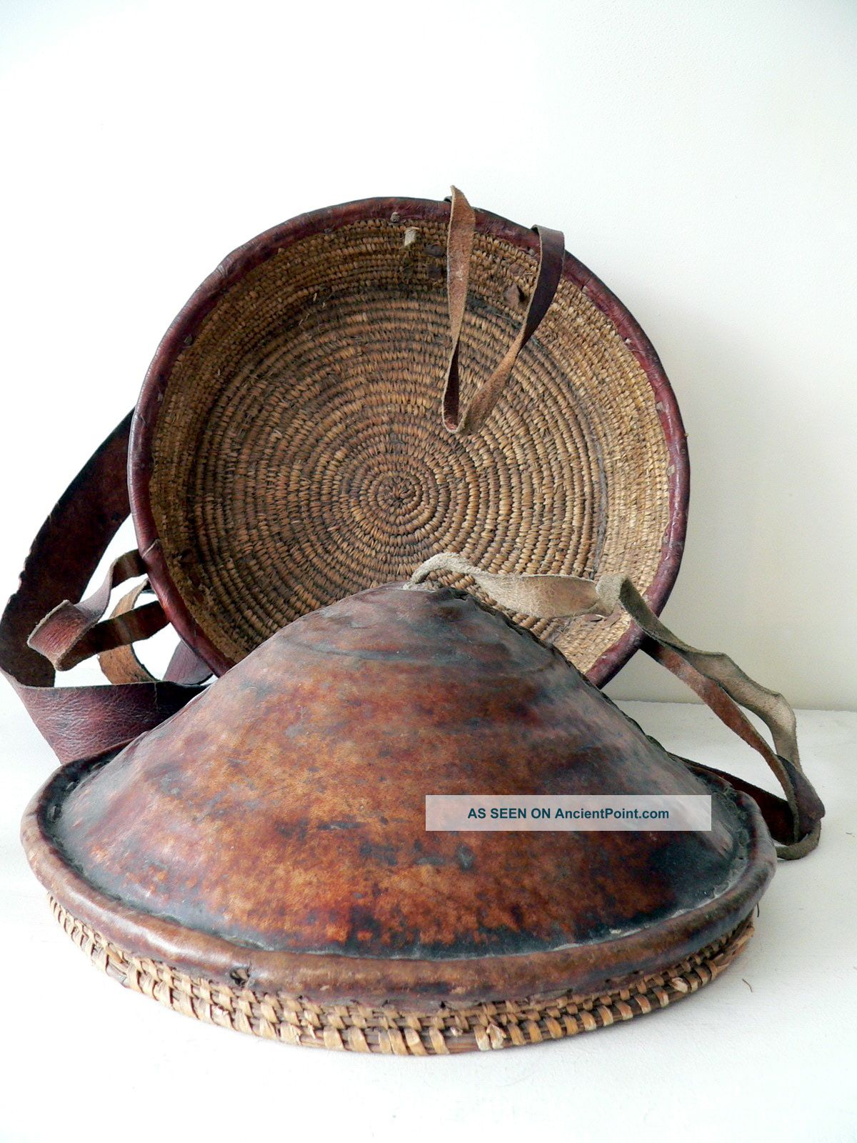 Early 20th Century Ethiopian Bread Basket.  Fine Weave,  Leather Clad. . Other photo