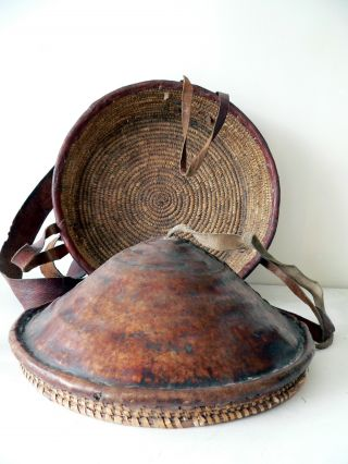 Early 20th Century Ethiopian Bread Basket.  Fine Weave,  Leather Clad. . photo