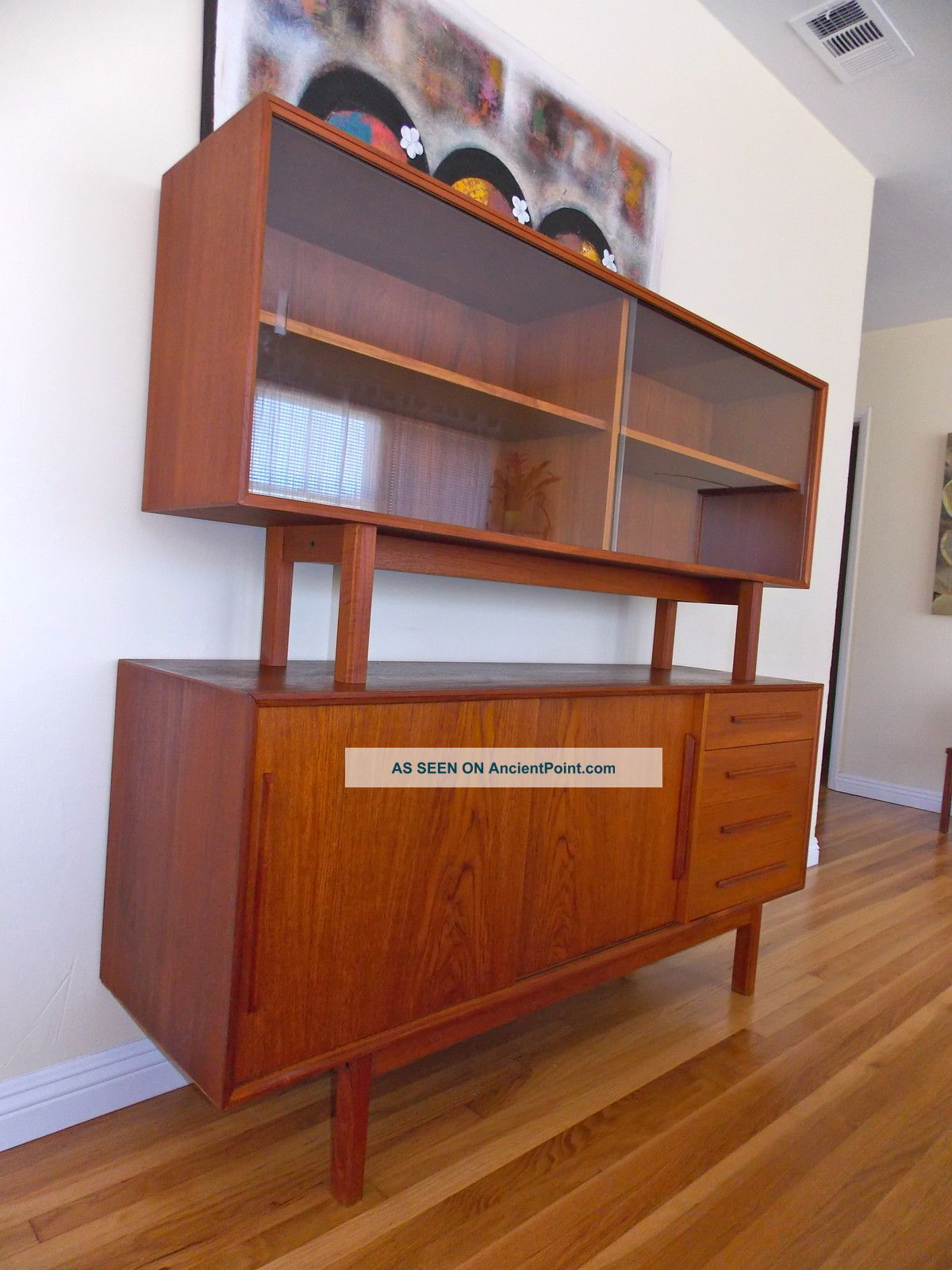 Mid Century Danish Modern Teak Credenza Dresser Sideboard Buffet Display Case Post-1950 photo