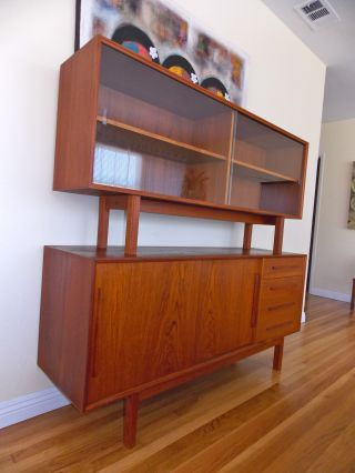 Mid Century Danish Modern Teak Credenza Dresser Sideboard Buffet Display Case photo