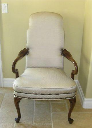 Vintage Tallback Accent Arm Chair White Designer Fabric Decorative Nails photo