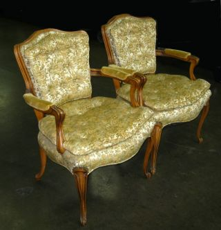 Pair Of Two Vintage French Provincial Silk Brocade Accent Arm Chairs Carved Legs photo