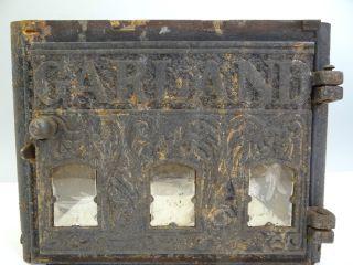 Antique Cast Iron Mica Windows Garland 1887 Woodstove Center Column Hardware Nr photo