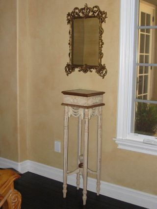 French Country Chic Shabby Tall Accent Table Stand Ornate White Plant Key Side photo