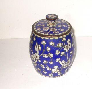 Old Cloisonne Blue Enamel Humidor Barrel Shape Jar Canister Box photo