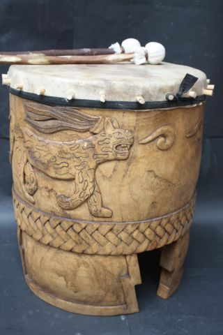 Xxl Huehuetl Drum Mexican Aztec Antique Musical Percussion Ethnic Instrument photo