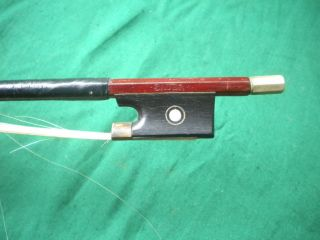Old German Violin Bow Bauer Brand Vuillaume Type Ebony Nickel Silver Frog C.  1910 photo