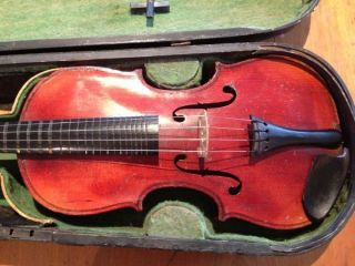 Antique Manby Violin With Bow & Oak Wooden Case Manby System Fingerboard photo