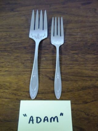Oneida Community Silverplate Flatware 1917 Adam Meat Serving Fork & Salad Fork photo