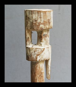A Tall Abstract,  Kaolin Pigment Ancestor Figure From The Adan Tribe Of Ghana photo