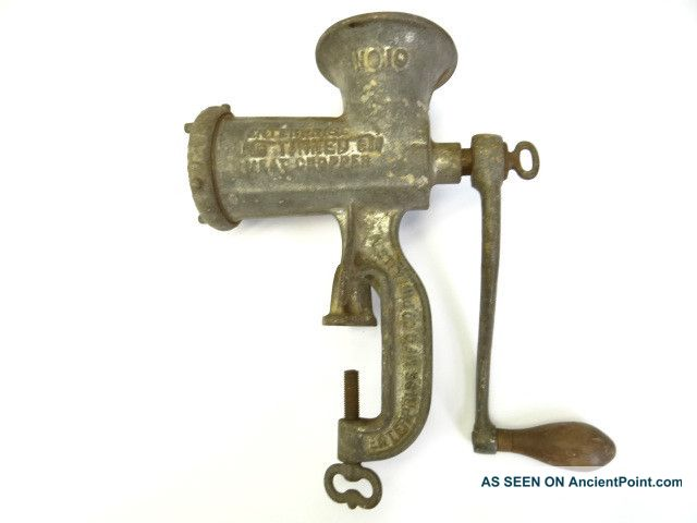 Antique Old Metal Cast Iron Enterprise No 10 Tinned Sausage Meat Chopper Grinder Meat Grinders photo