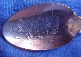 Silverplate Souvenir Baby Spoon Social Security Roosevelt.  Rare Baby Spoon photo